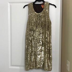 Tory Burch gold sequin dress